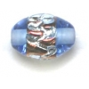 Glass Lamp Bead Oval 12x8mm Silver/Sapphire